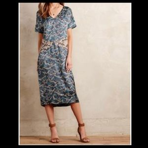 ANTHROPOLOGIE-Burning Torch silk satin dress-S